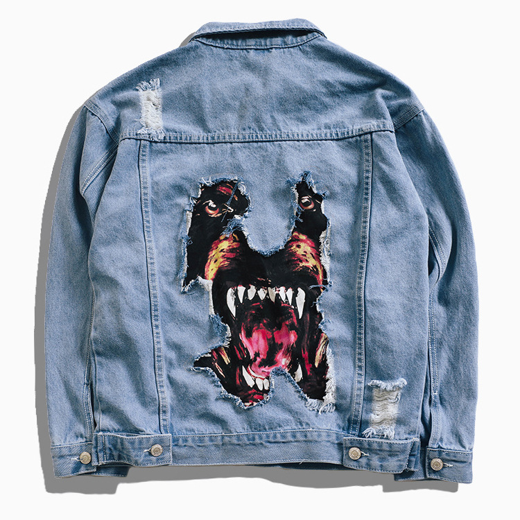 2018 Denim Jacket Men Hip Hop Streetwear Dog Head Printing Cowboy Ripped Distressed Jean Jacket Men Women Brand Casual Jacket