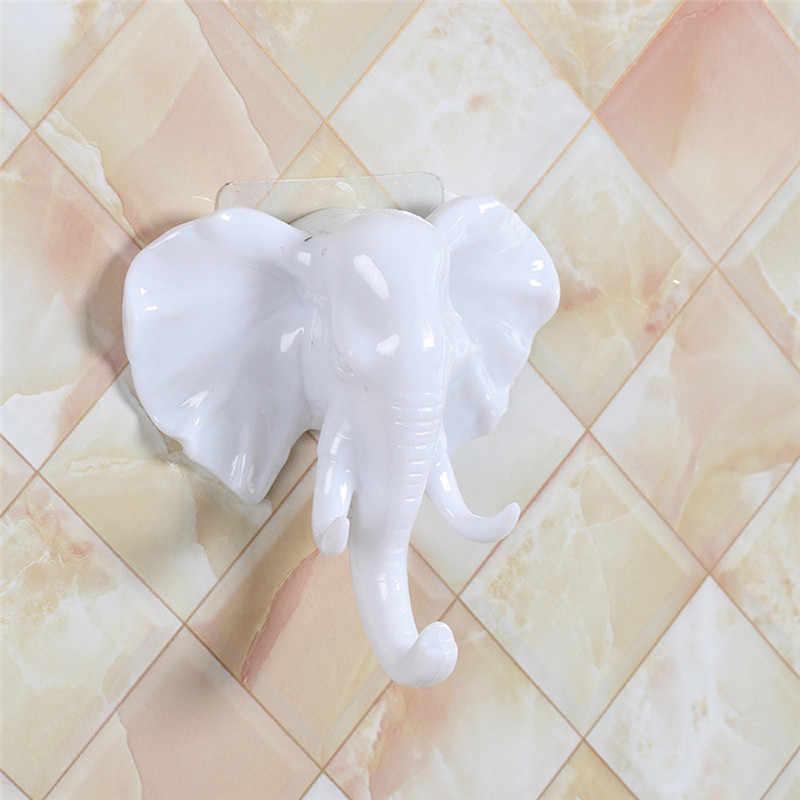 11CM Starke Klebrige Elefanten Kopf Lagerung Hanger Rack Platzsparend Wand Montiert Hinter Tür Tasche Schlüssel Halter Multi Haken #38