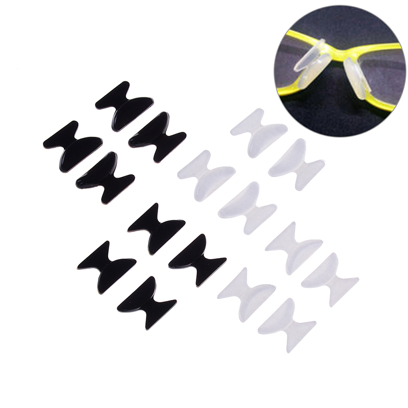 2 Pairs 2.5mm/1.8mm Eyeglass Sunglass Anti-slip Silicone Stick On Nose Pad Glasses Tools Black White Wholesale