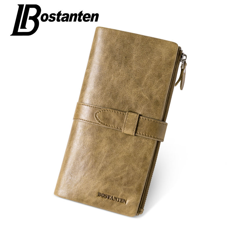 Bostanten Genuine Leather Men Wallets Brand Long Clutch Wallets Men Zipper Coin Purse Male Wallet Card Holder Men's Purse hot genuine leather men wallets long zipper coin purse 2018 luxury brand vintage male clutch cowhide leather wallet card holder