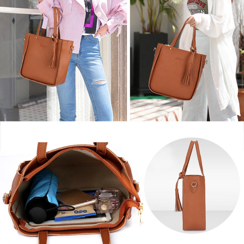 4pcs Women Lady Fashion Handbag Shoulder Bags Tote Purse Messenger Satchel Set in Shoulder Bags from Luggage Bags