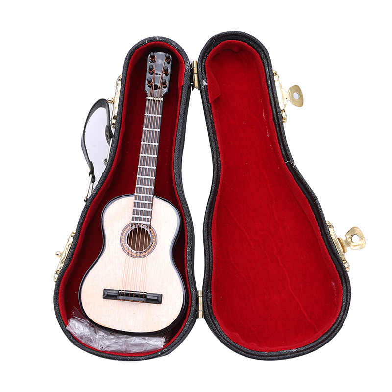 Handmade Miniature Dollhouse Wooden Guitar Model With PU Box Toys 14cm Dolls Accessories Pretend Play Furniture Toys
