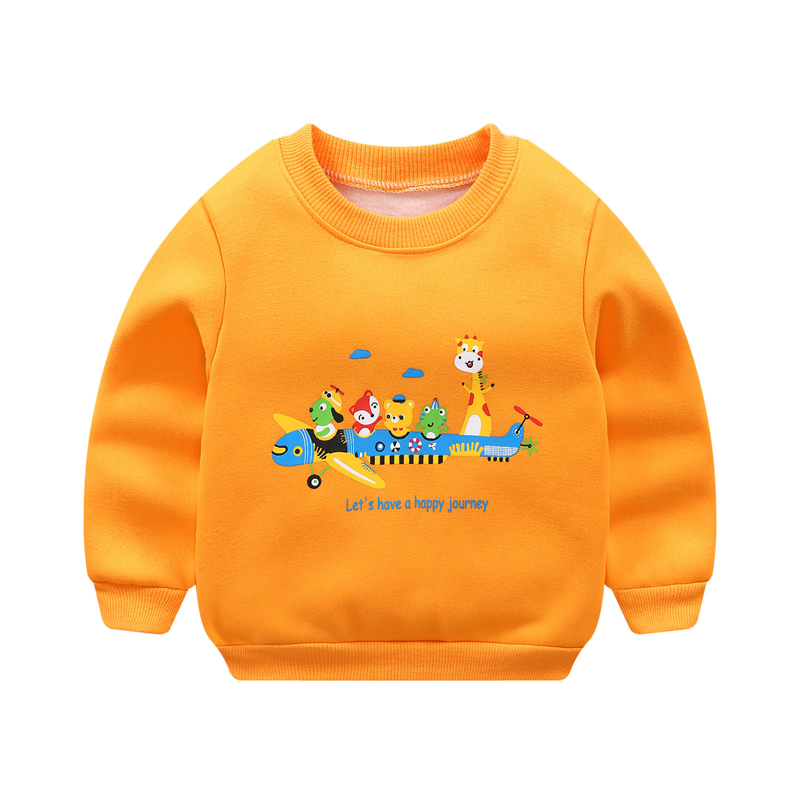 Autumn Winter Children Boys Girls Sweatshirts Cartoon plus velvet thickening Long Sleeve Cotton Crew Neck Sweatshirts Blouse(China)