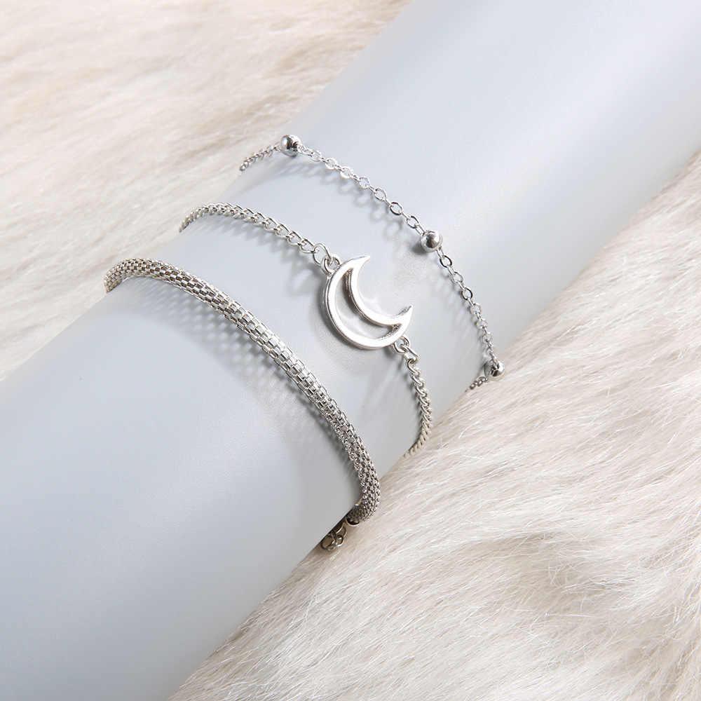 DIEZI один комплект Винтаж Богемия луна бусины цепочки и браслеты наборы для Для женщин Ювелирные Браслеты Подарки Новый 2019