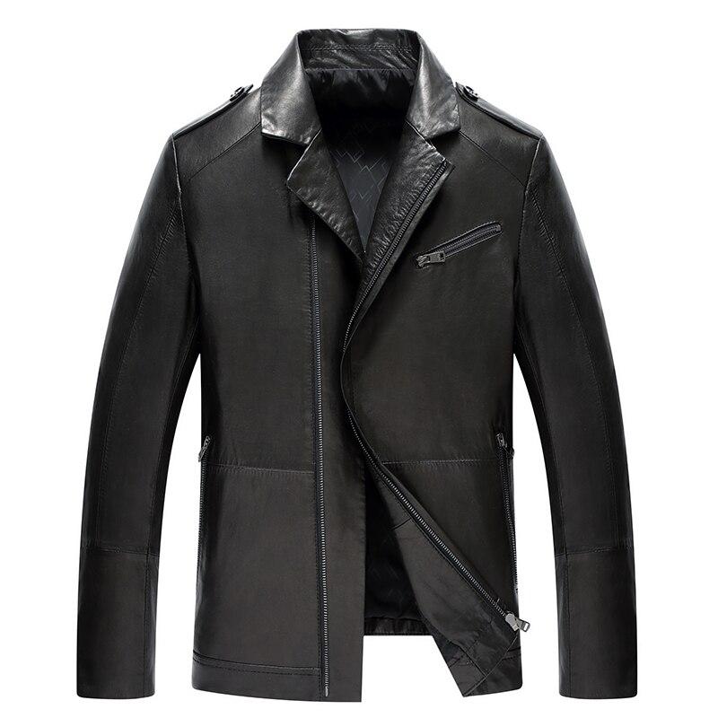 2017 Autumn Genuine Leather Jacket Men 100% Sheepskin Jacket Men Fashion Lapel Brand Spring Jacket jaqueta de couro masculina(China)