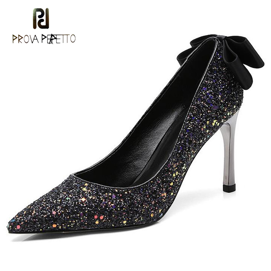 Prova Perfetto office lady pointed toe sequins high heels shoes women pumps satin bowtie decor party shoes 8cm thin high heels 2016 spring high heels women glatiador shoes sex party pumps office lady plain peep toe valentine shoes