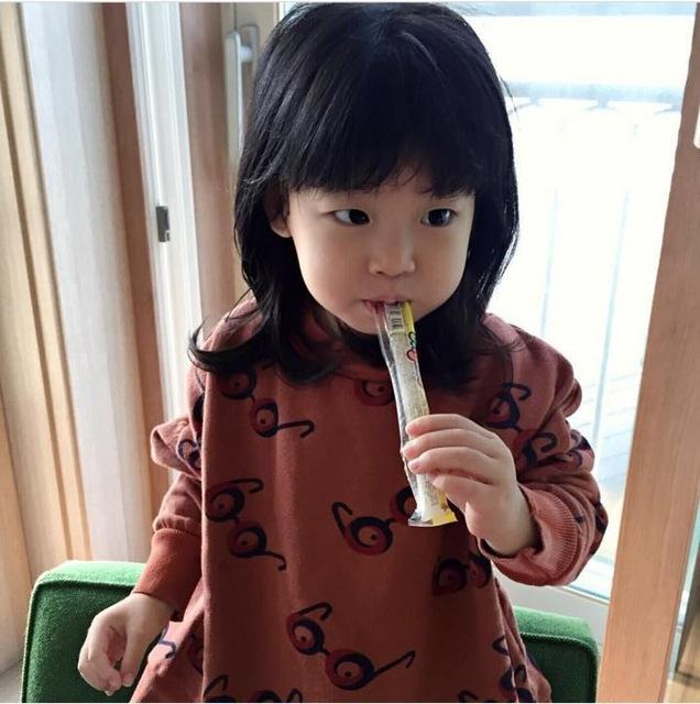 2016 nuevo Otoño de la manera bobo choses children'scasual camiseta Del Bebé Del algodón de la manga completa patrón gafas Tops muchachas del muchacho Tee ropa