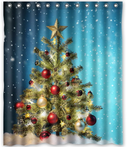 2014 Fashion Home Decoration Polyester Fabric Thicken Waterproof Shower Curtain Sparkling Christmas Tree Print Bathroom