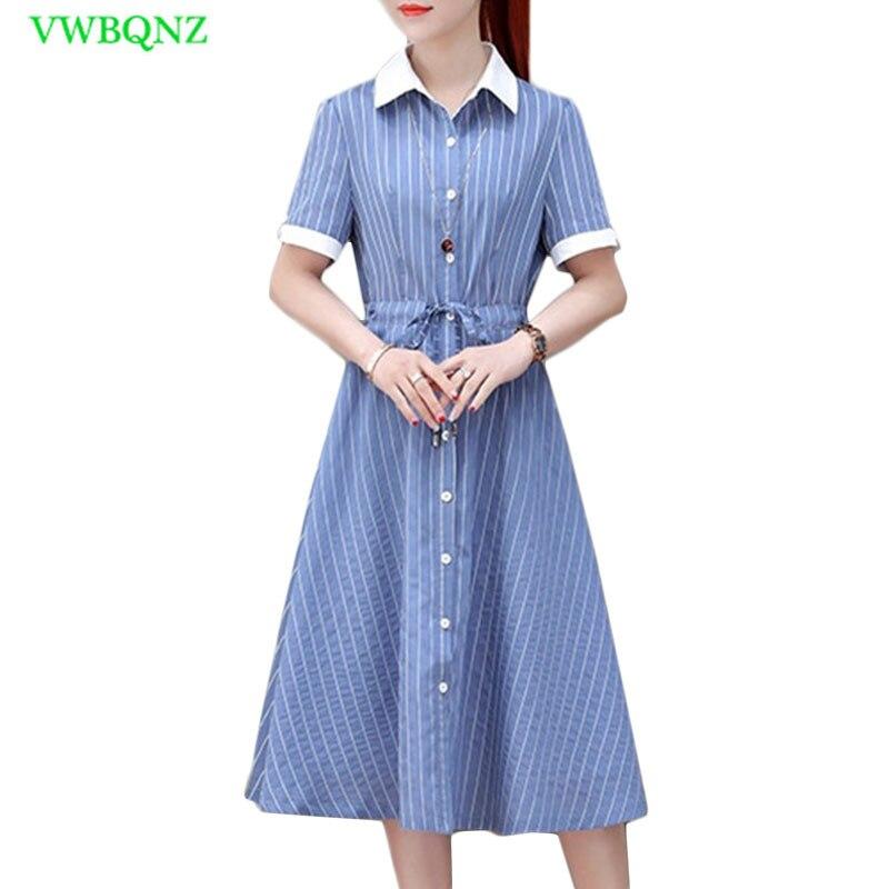 2018 bureau été robe chemise femme coréenne élégant dépouillé simple boutonnage porter au travail chemises femmes à manches courtes robes 699