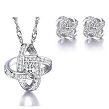 XIYANIKE 925 ayar gümüş sıcak satış parlaklık kristal AAA kübik zirkonya takı setleri kalp sonsuzluk kadınlar için Lover hediye NE + EA