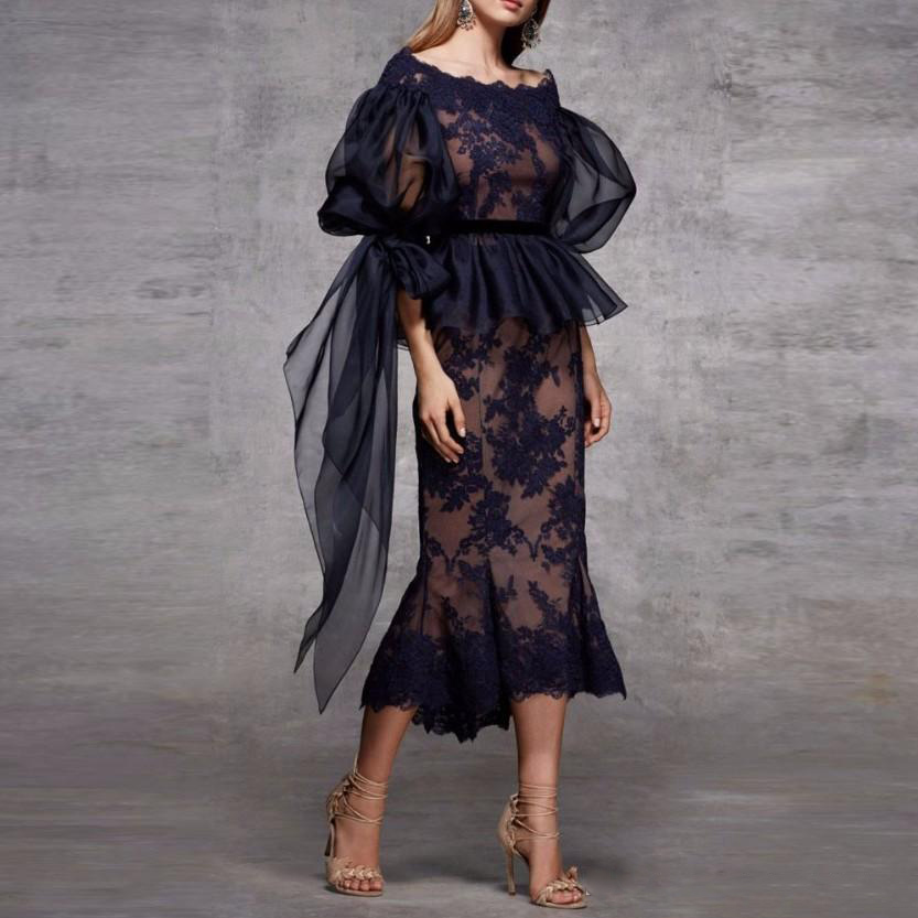 2019 Scoop Neck Lace Peplum Mermaid Evening   Dress   Ruched Half Sleeves Tea Length Formal Party   Prom     Dresses   Navy Blue Women Gowns