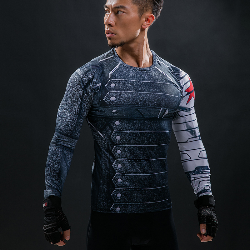 3D Winter Soldier Avengers 3 Compression   Shirt   Men Summer Long Fitness Crossfit   T     Shirts   Male G ym Clothing Tight Tops