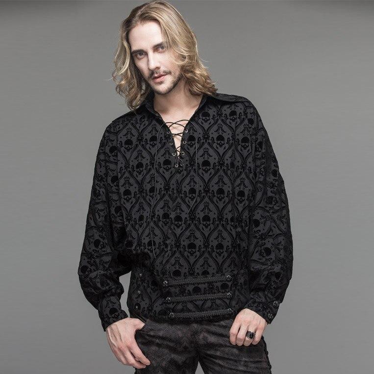 Men's black collars ties shirts rock British punk retro loose skull casual long sleeve shirt