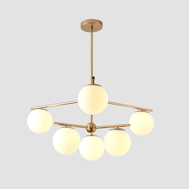 Nordic simple glass ball pendant lights living room Post modern molecule model milk white glass shade droplight gold lamp body
