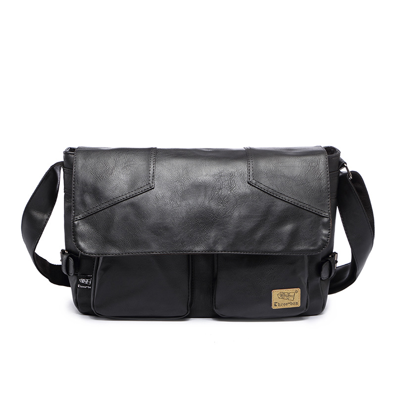 Three-box Brand Men Leather Casual Large Capacity Messenger Bag Man Vintage Crossbody Shoulder Bag Busines Travel Bags Bolsas 2