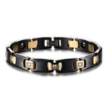 High-grade Luxury Male and Female Couples Tungsten Gold Ceramic Bracelet Inlaid with Zirconium Tungsten Steel Jewelry