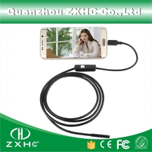 7MM Lens 2M Cable HD Waterproof Mini Micro Video USB Endoscope Borescope Inspection Industrial Camera For Android 6 LED