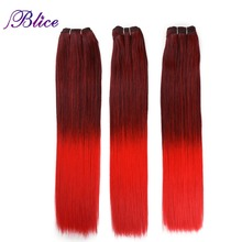 Blice Synthetic Hair Weaving 18 Inches Mix #1B/Red Yaki Straight Double Long Weft Sew in Hair Extensions 100G/Piece 3Pieces/Lot
