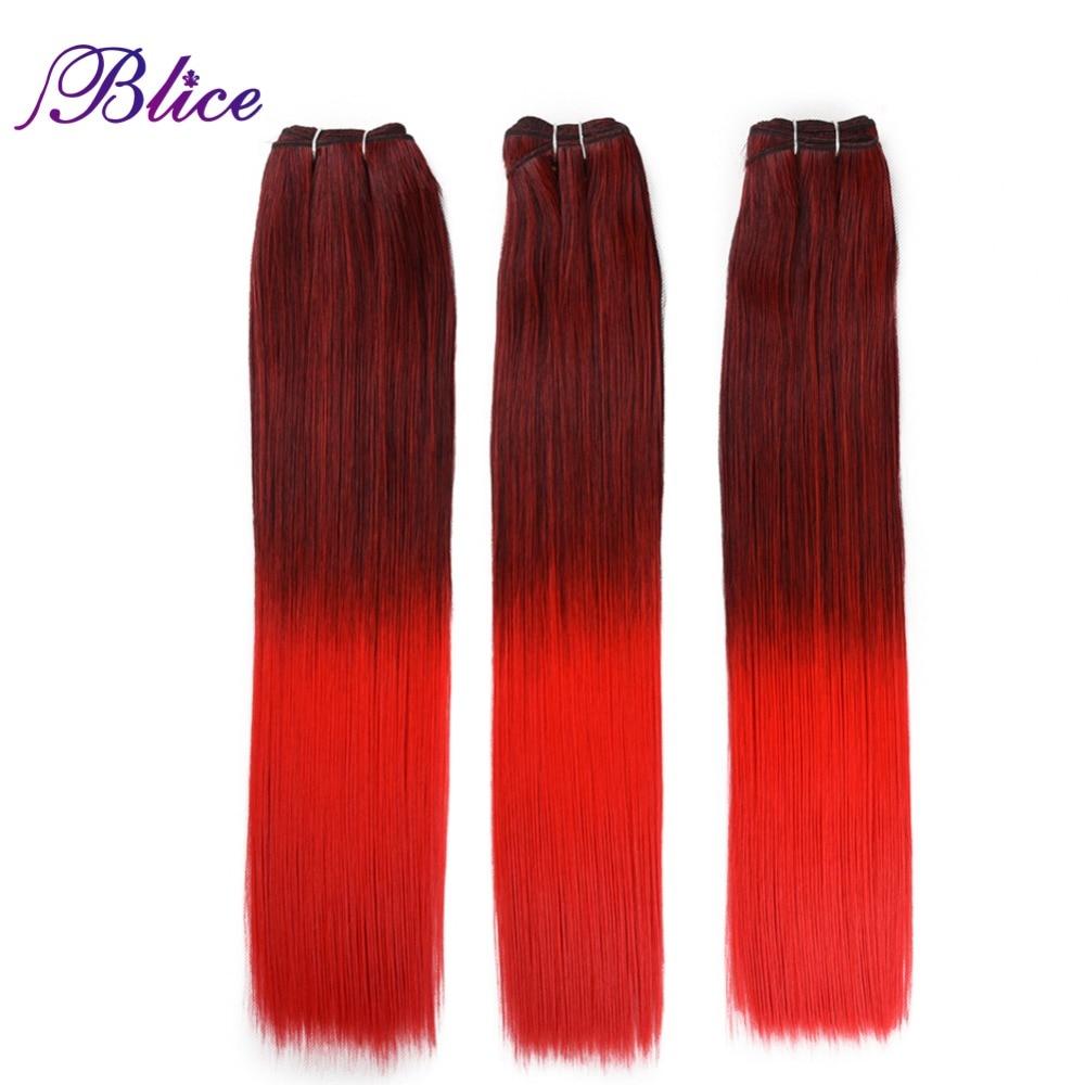 Blice Synthetische Haar Weben 18 Zoll Mix # 1B/Rot Yaki Gerade ...