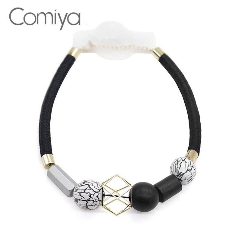 Comiya Ethnic Bohemian Black Rope Necklace For Women Geometric Vintage Choker Resin Wooden Beads Necklaces&Pendant Drop Shipping vintage tiered geo beads layered teardrop resin rhinestone choker for women