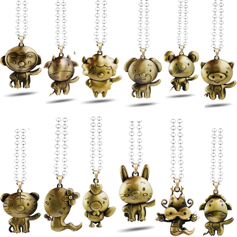 12 Zodiac Sign Necklaces Animal Metal Pendant Women Jewelry Tiger Dragon Pig Monkey Chai ...