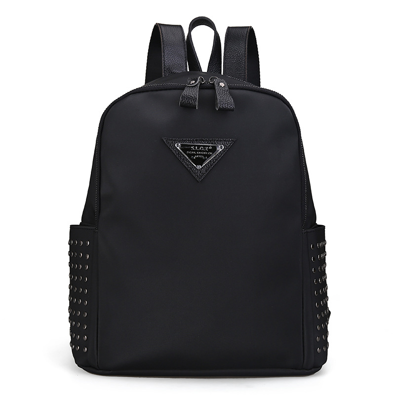 ФОТО Fashion Korean version of the first layer of leather with tarpaulins women 's shoulder bag leather  ladies bag rivets