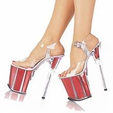 Damen Sexy Party Heels Hochzeit Schuhe Plattform Kristallschuhe 20 CM Ultra High Heels Sandalen