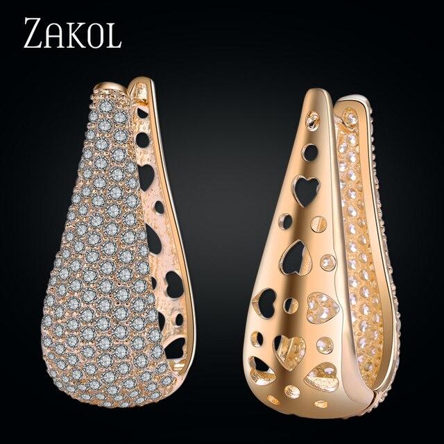 ZAKOL Micro Inlay Hoop Earrings Gorgeous Simulated Diamond Ear Jewelry Brand Big Teardrop Zirconia Earrings For Women FSEP601