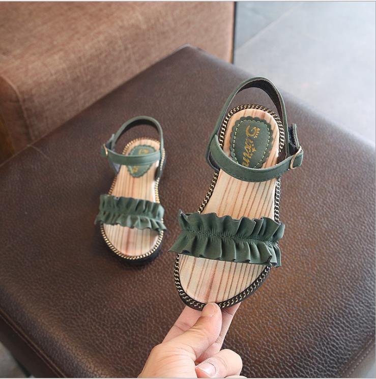 Gilrs Sandals 2019 Green/Black Pure Summer Girls Sandals Ruffles Princess Soft Beach Shoes Anti-Slip Big Girls Sandal