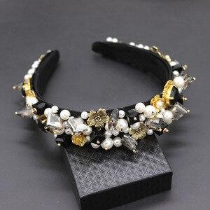 Image 3 - Personality street style headband Baroque exaggerated crystal pearls with headband catwalk dance multicolor headband 903