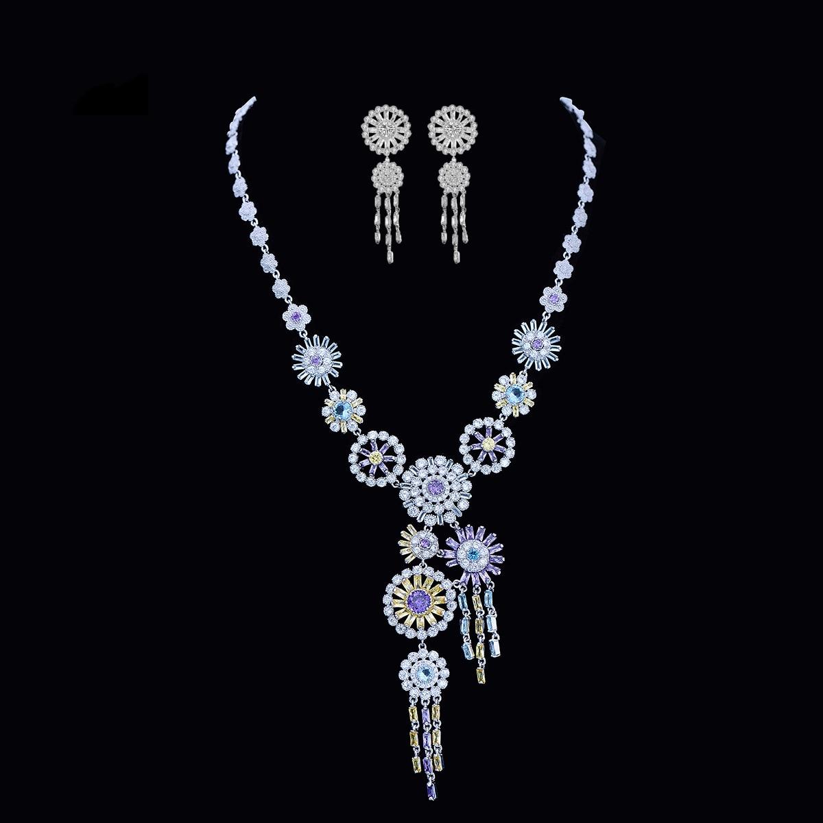 Femme mode cubique Zircon bijoux ensemble fleur collier & boucles d'oreilles pour femmes accessoires de mariage