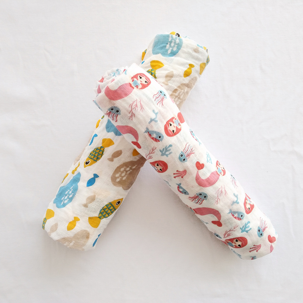 ₪Sirena amor gasa de algodón muselina bebé manta Bañeras recién ...