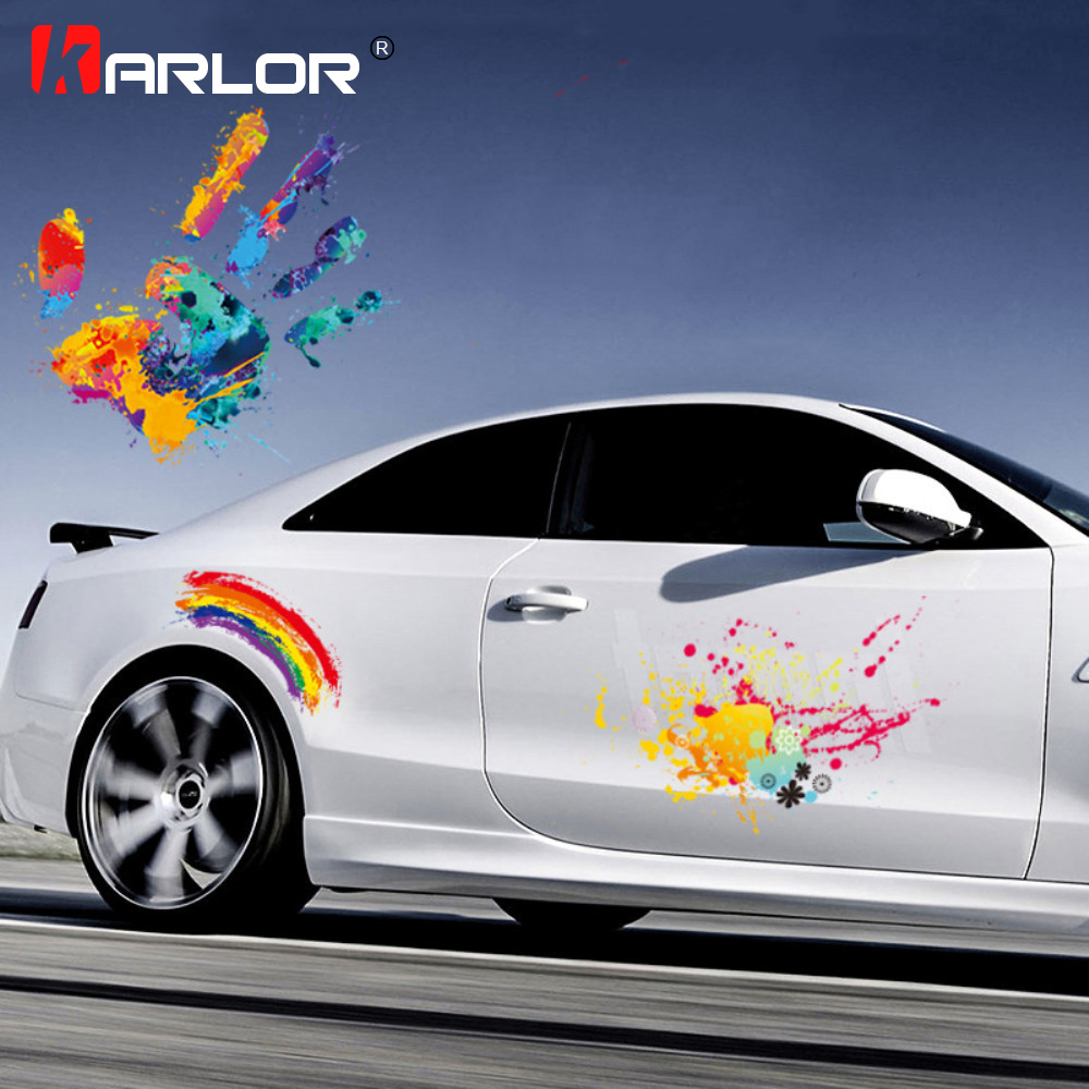 Colorful Graffiti Car Stickers Auto Products Painted Rainbow Palm Decals For Auto Car Hood Decoration Creative Car Accessories