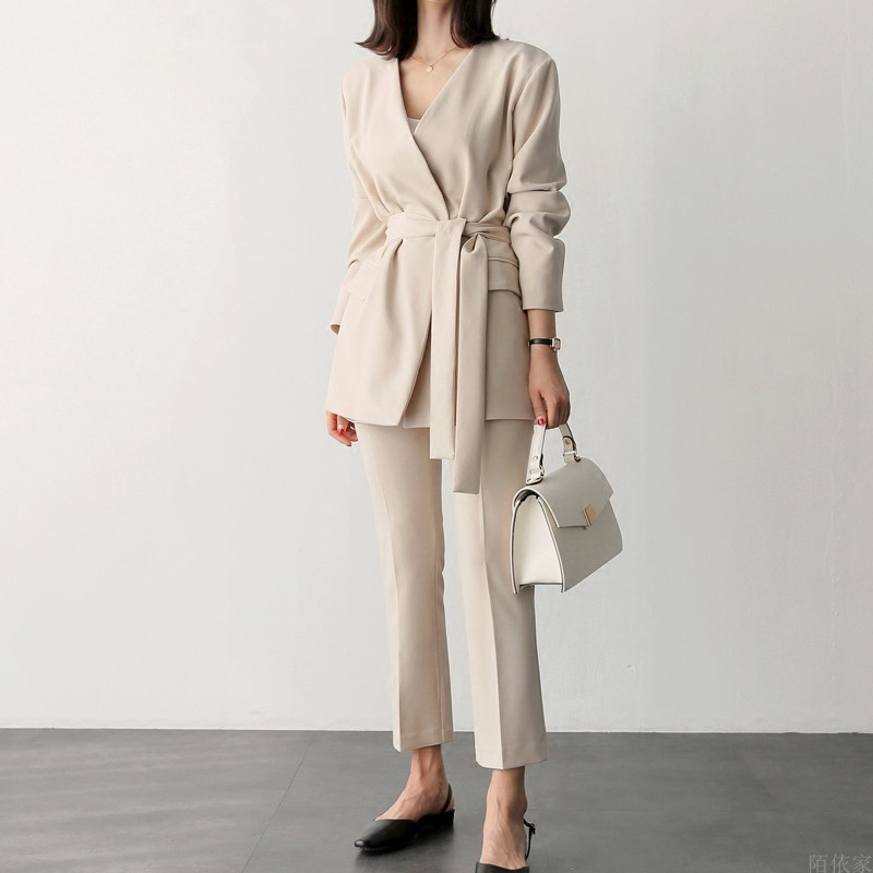 Spring New Korean Fashion Thin OL Temperament Lapel Blazer Cropped pants Set Female