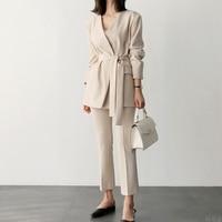 Spring New Korean Fashion Thin OL Temperament Lapel Blazer Cropped pants Set Female