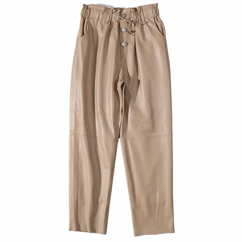 Брюки Гарун из натуральной кожи, женские кожаные брюки из овечьей кожи, тонкие уличные кожаные брюки с эластичной резинкой на талии в Корейс