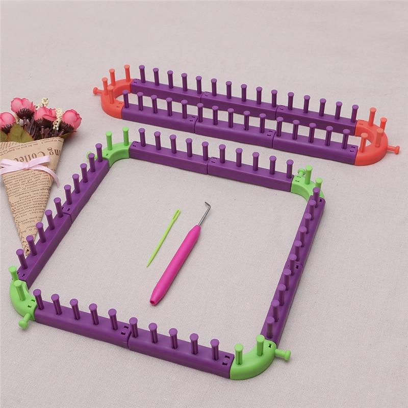 Knit Hobby Loom Knitting Machine Sewing Tools DIY Craft Kit Knitting Loom Long Ring Set Hat Socks Scarves Maker Wool Yarn Needle