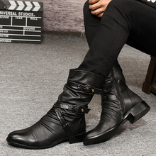 2016 Men's Winter boots trend  velvet boots gaotong rivet male leather pointed toe male thermal boots Black boots