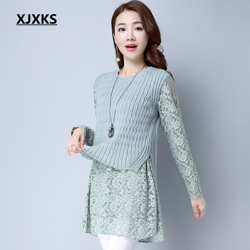 XJXKS New 2019 Autumn Women Pullovers Sweater Dresses Knitted Lace Sleeve Vintage Beautiful Natural Casual Long
