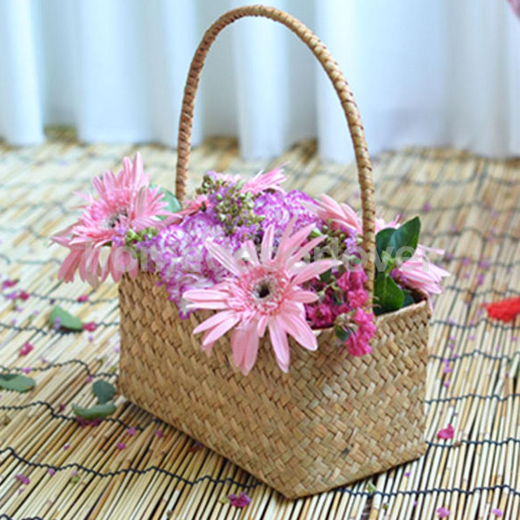 Natural Seaweed Woven Home Organizer Flower Jewelry Storage Basket ...