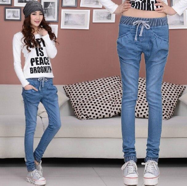 New 2017 Fashion Stretch Waist Elastic hemming jeans casual harem pants denim pants women Blue large size jeans Ladies Z906 alfani new deep black stretch waist women s size large l casual pants $89
