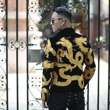 Gold Dragon Pattern Embroidery Stage Suit Jacket Men Fancy Designer Blazer Men Dj Club Party Prom Blazer Men Velvet Blazer