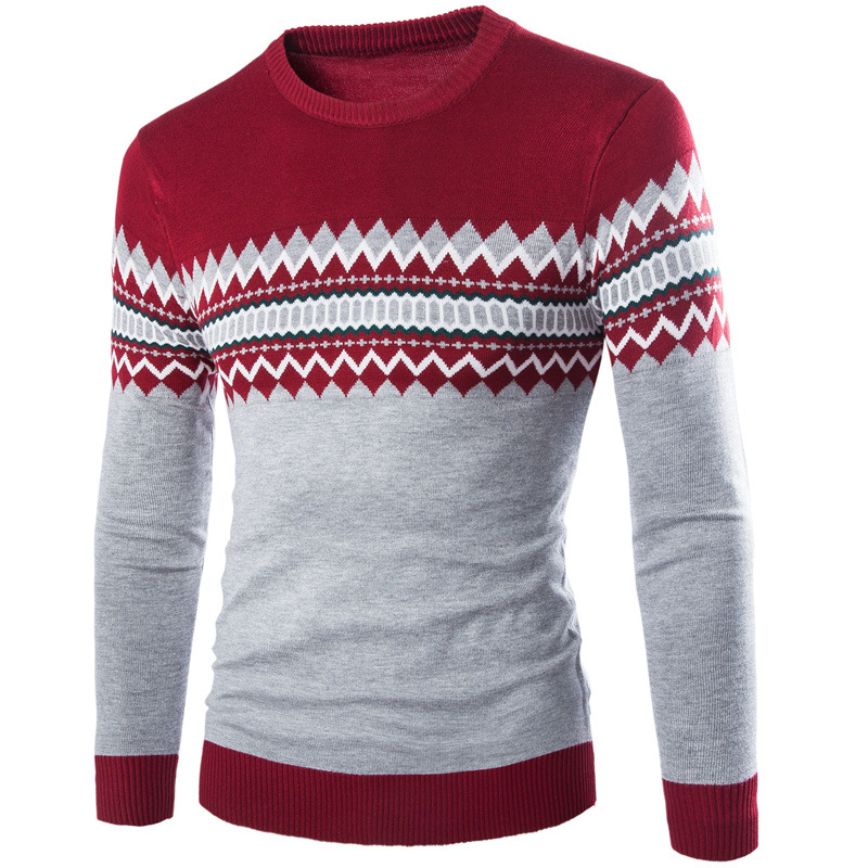 Knitted Sweater Pullover Men Slim-Fit Round-Neck Autumn Winter Fall Jersey Hombre