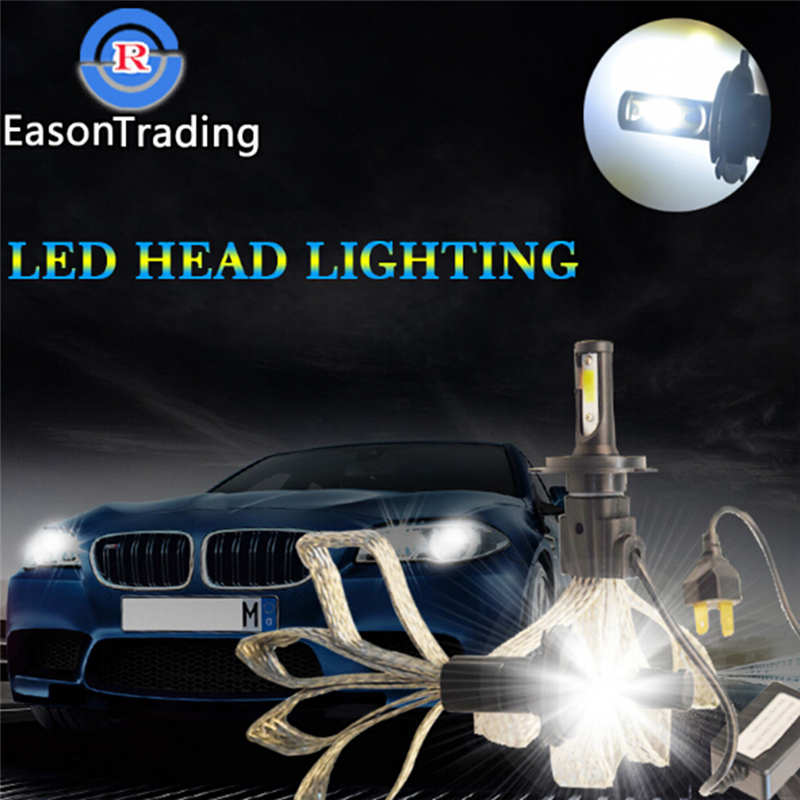 2Pcs H1/H7 10000LM 100W S7 LED Car Headlamp Kit Bulb Hi/Low White 6000K