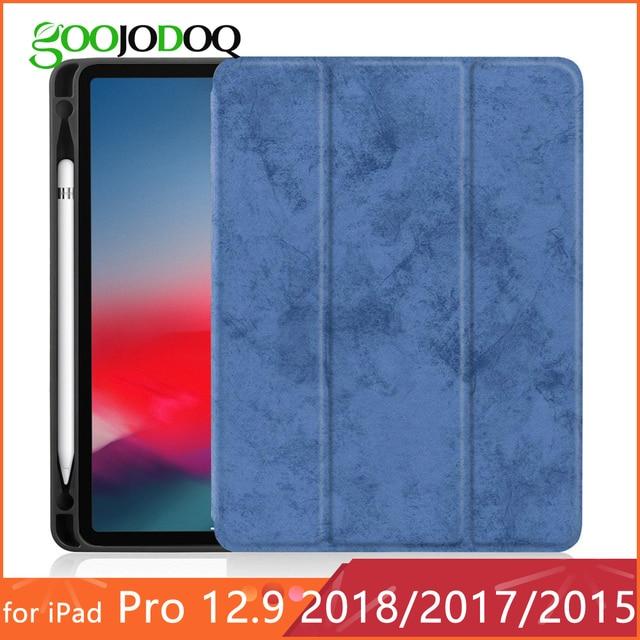 Cho iPad Pro 12.9 Trường Hợp với Chủ Bút Chì 2018 2017 2015 Cao Cấp PU Da TPU Mềm Che Phủ đối với iPad Pro 12.9 2018 Trường Hợp Không Có Bút
