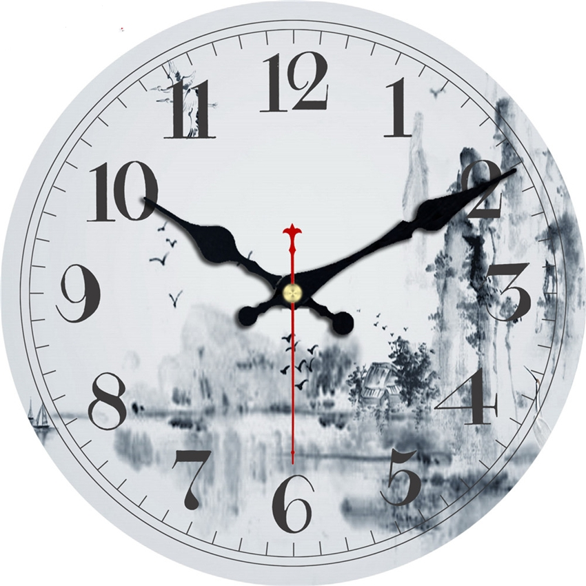 Classic Chinese Painting Design Wall Clocks Silent Living Study Room Office Home Decor Wall Art Creative Large Clocks No Ticking