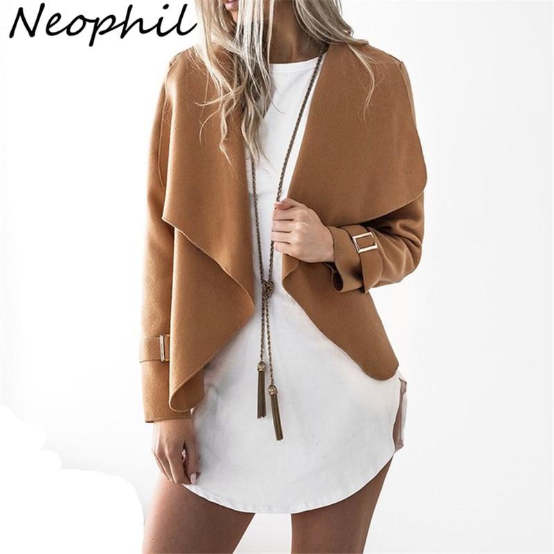 Neophil 2019 Winter Office Ladies Wool   Jackets   Long Sleeve Gray Elegant Women   Basic   Turn Down Collar Open Stitch Work Wear C1822