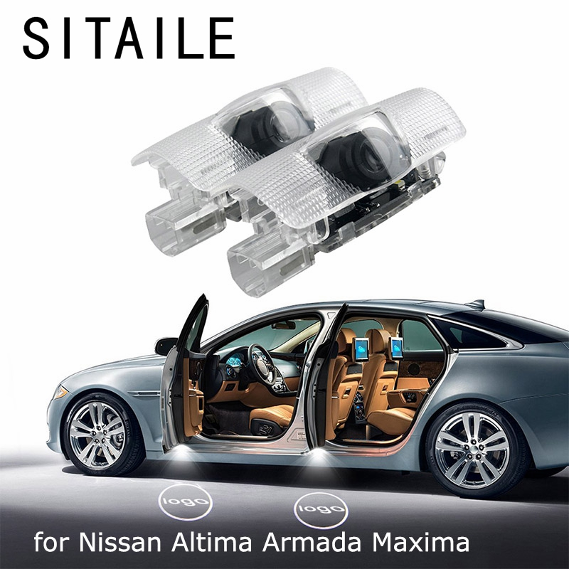 SITAILE Car Doors Lights Logo Badge Emblem Light Led 12v for Nissan Altima Armada Maxima Quest Titan  Welcome LED Auto Light for 04 10 nissan titan armada fog lights clear light lamps passenger driver usa domestic free shipping hot selling