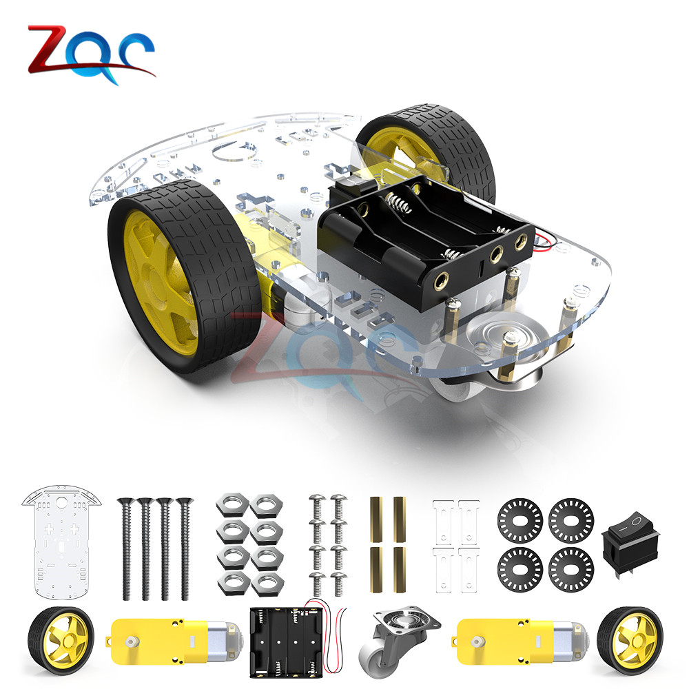 2WD Car Chassis Tracing Car Box Kit Spare Part Smart Robot Kit Toy Car 15cm