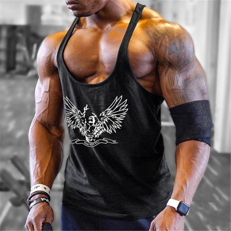 Gyms Stringer   Tank     Top   Men Bodybuilding and Fitness Tees Men's Singlets   Tanks     Tops   Shirts Crossfit Clothing Sportswear Vest